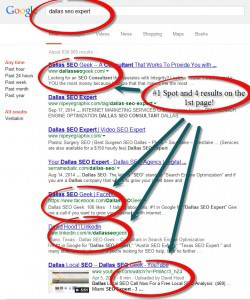 Dallas SEO Expert 4 1st page spots