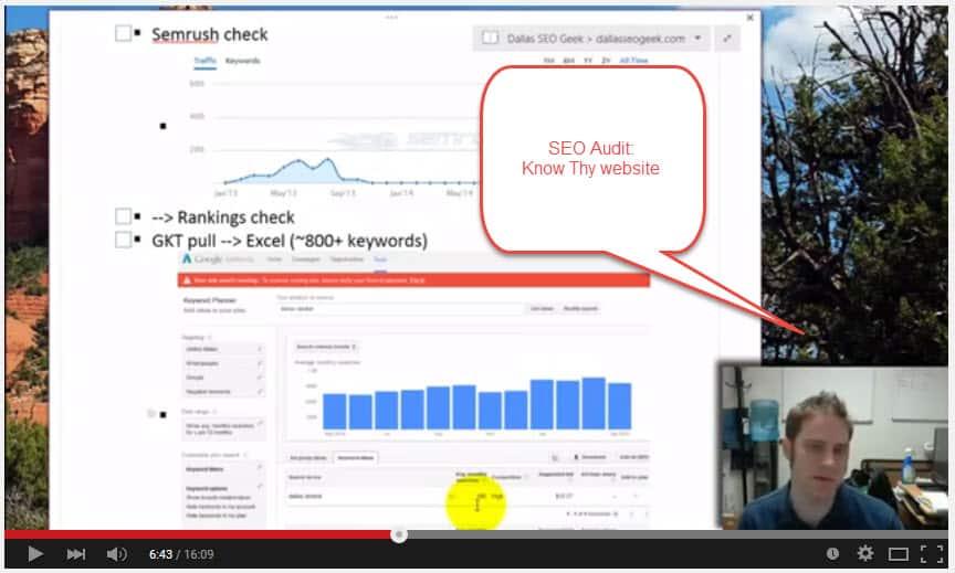 SEO Audit Screenshot -- Know thy website
