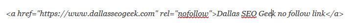 example nofollow link