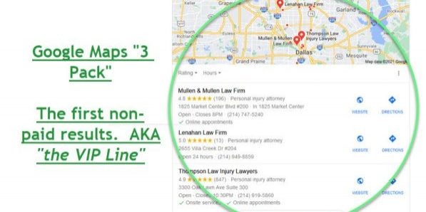 Sample Google Search Engine Results Page for Local Search.